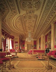 Windsor Castle - The Crimson Drawing Room, photographer Mark Fiennes, The Royal Collection copyright 2009 Her Majesty Queen Elizabeth II
