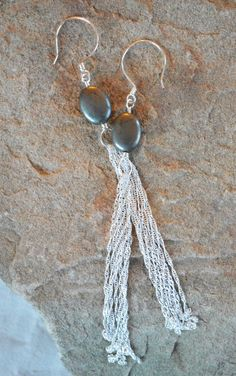 Pyrite and Sterling Silver Chain Long Fringe Earrings - Handcrafted Earring Hooks - Adrienne Adelle