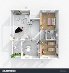 3d interior rendering perspective view of square furnished home apartment