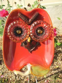 Garden art whimsical owl garden stake upcycled by ADelicateTouch1
