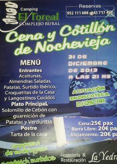 Despide 2013 y recibe 2014 desde uno de los lugares mas emblemáticos de Andalucia, El Torcal.  Cena de nochevieja 2013 en Camping el Torcal, en Antequera, Malaga.