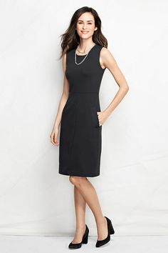 Women's Sleeveless Ponté Sheath Dress with Pockets - Perfect to dress up or down | Lands' End
