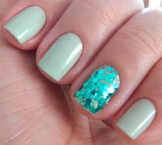 I love it when all of the nails are painted and the 4th finger has a design or sparkles!