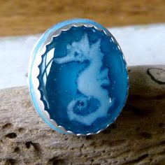 Seahorse    Sterling siver ring  fused glass by ArtoftheMoment, $145.00