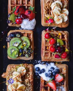 Chocolate Chip Banana Spelt Waffles recipe by Fear not. Food is your friend. Waffle Toppings, Waffle Recipes, Vegan Recipes, Cooking Recipes, Think Food, Love Food, How To Make Waffles, Making Waffles, Clean Breakfast