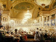 Eugene Viollet-le-Duc Premium Thick-Wrap Canvas Wall Art Print entitled Women Dining at the Tuileries in 1835 (w/c on paper) Framed Artwork, Wall Art Prints, Poster Prints, Versailles, Royal Bathroom, Grey Bathrooms, Palais Des Tuileries, The Vampire Chronicles, Neoclassical Architecture
