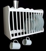 Kitchen Plate Rack - wall mounted - inc shelf above and hooks under - WHITE