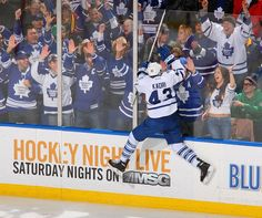Nazem Kadri #43 of the Toronto Maple Leafs celebrates after scoring in the first period against the Buffalo Sabres (Photo by Rick Stewart/Getty Images)