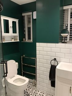 Green Bathroom Interior, Dark Green Bathrooms, Bathroom Red, Small Dark Bathroom, Metro Tiles Bathroom, Bathroom Ideas, Bathroom Renovations, Upstairs Bathrooms, Downstairs Bathroom
