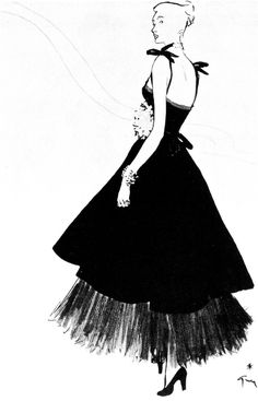 hollyhocksandtulips: Christian Dior fashion illustration by Rene Gruau, 1947 Dior Vintage, Moda Vintage, Vintage Mode, Vintage Fashion, Vintage Clothing, Dior Fashion, Moda Fashion, Fashion Art, Fashion Models