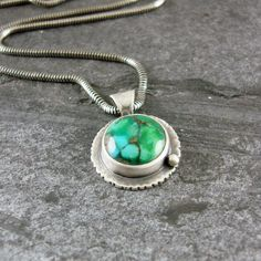 Turquoise and Sterling Silver Pendant  Edged  by CamaliDesign