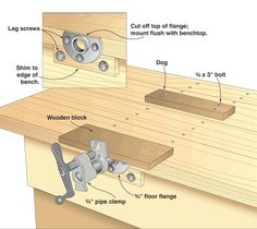 Pipe Clamp Vise by George Roskopf -- Homemade pipe clamp vise constructed from a pipe clamp, a flange, lag screws, bolts, and wood blocks. http://www.homemadetools.net/homemade-pipe-clamp-vise-2