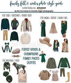 Taking the stress out of family pictures... clickable links take you straight to Amazon for color coordinated outfits in Forest Green & Champagne. These color palettes are perfect for fall and winter family photo sessions.