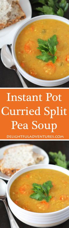 An easy-to-make Curried Instant Pot Split Pea soup that's perfect for lunches and dinner. This delicious soup can also be made on your stove top and instructions on how to do that are included. #instantpot #splitpeasoup #vegansoup via @delighfuladv