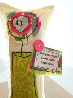Flower Pillow Word Pillow Appliqued Pillow Whimsical by Itsewbella, $9.75