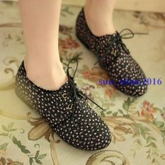 Womens Casual Lace Up Flat Shoes Korean Floral Canves Travel Shopping Boat Shoes