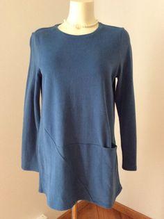 Pure Jill Soft Touch Cotton By J.Jill Small Blue Tunic LS 100% Cotton GUC | eBay