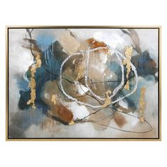 Coventia Wall Decor with Frame Add a modern touch to any decor with this distinctive abstract oil painting in soothing blue and brown tones. Rich with metallic accents and texture, the painting features a floating frame in a sleek gold. Frame Wall Decor, Framed Wall Art, Wall Art Decor, Framed Prints, Wall Décor, Oil Painting Abstract, Painting Frames, Painting Prints, Paintings