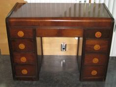 Art Deco Waterfall Walnut Vanity Dresser Table
