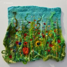 Colourful happy handmade original custom framed textural hand embroidery wet felt flower meadow picture. Ooak Wall hanging artwork, 3d