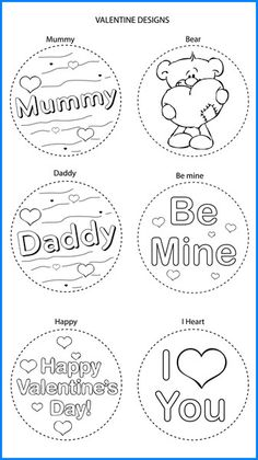 Valentines Mixed Designs - Colour In Yourself Badges Valentines Design, Badges, Fathers Day, Mothers, Colour, Prints, Book, Paper Envelopes, Hipster Stuff
