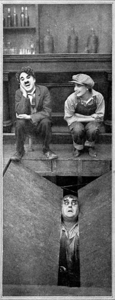 """""""Behind the Screen"""" (1916)Charlie Chaplin, Edna Purviance and Eric Campbell."""
