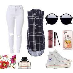 Dark blue and White Style by night-elves on Polyvore featuring Mode, Converse, Casetify and Kylie Cosmetics