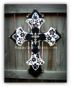 Large Wall CROSS  3 layers  Black & White Floral by happygoose, $59.95