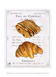 Vintage poster: Pain au chocolat and croissant