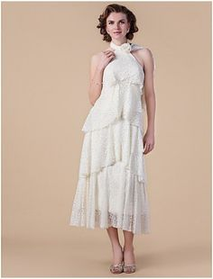 Marvelous A-line High-neck Tea-length Lace and Handmade Flower Mother of the Bride Dress