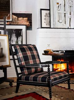Ralph Lauren Home's New Bohemian spool Chair in a black, white and red plaid fabric from the West Village collection