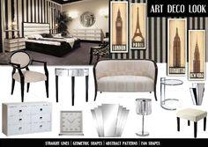 art deco bedroom moodboard
