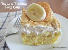 Yellow cake, poke holes, instant banana pudding poured over the top. Whipped cream and crushed Nilla Wafers on top.