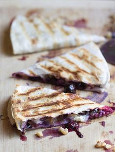 Creamy brie cheese, walnuts and fresh blueberries - Blueberry Brie Walnut Quesadilla.