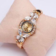 Geneva Quartz 18K Gold Plated Butterfly Style Dress Watch