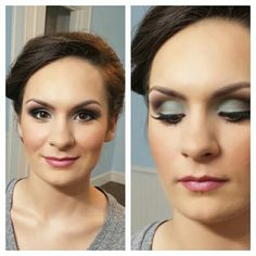 Green blue smokey eyes. Lashes. Makeup by Wendy Zerrudo. Pink lips. Mac cosmetics used.