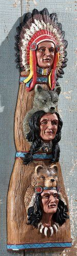 """Majestic Chief Leaders Southwest Inspired Totem Pole Wall Decor By Collections Etc by Collections. $7.97. This wall hanging sculptural totem pole pays tribute to the first Native Americans. Hand-painted resin. Inside or outdoor display. Hanging keyhole on the back. Measures 5 1/2""""L x 2 1/2""""W x 18""""H."""
