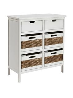 Gallerie Décor 10105-Wht Bali Six Drawer Chest, White