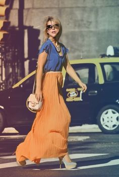 Easy, relaxed look. Love the blue & orange, the flow of the skirt, and the amazing pastel pastel platforms.