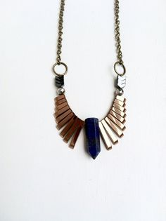 Phoenix / Geometric Blue Lapis & Copper Hematite Fringe Bib Statement Necklace / copper hematite fringe/ blue lapis lazuli crystal point