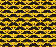 8-bit Moustache fabric by smuk on Spoonflower - custom fabric