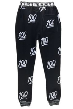 Black Womens 100 Points Printed Cute Jogging Sweatpants