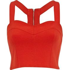 River Island Red scuba zip bralet (€20) ❤ liked on Polyvore featuring tops, shirts, crop tops, bralet, bustier, sale, bralet crop top, bralette crop top, red crop top and sexy tops