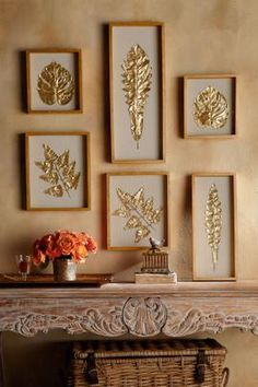 Brizzi's Leaves Shadowbox, set of 6 from Soft Surroundings Diy Framed Wall Art, Hallway Wall Decor, Metal Wall Decor, Home Decor Wall Art, Metal Wall Art, Gold Leaf Art, Clay Art Projects, Wow Art, Diy Home Crafts