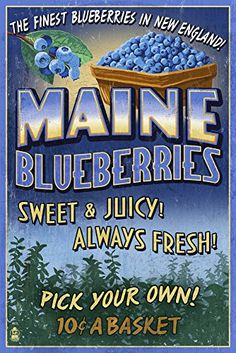 Maine Blueberries Vintage Sign 9x12 Art Print Wall Decor Travel Poster >>> Continue to the product at the image link. Note:It is Affiliate Link to Amazon.
