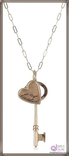 Heather B. Moore Key Charm 14k Rose and Yellow Gold Pendant Necklace