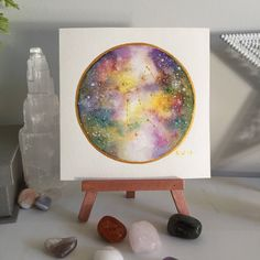 "Sagittarius 5"" x 5"" Original Miniature Galaxy Watercolor 