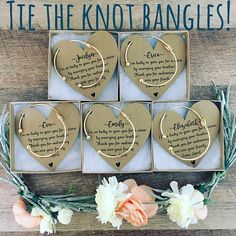 Bridesmaid gifts! Thank you gift! Silver or gold knot Bracelet with personalized card, box & ribbon!