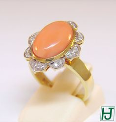 New Angel Skin Coral Solitaire Ring with 20 Diamonds, 14k Yellow Gold, Size 6.5 #HarrysJewelry #SolitairewithAccents
