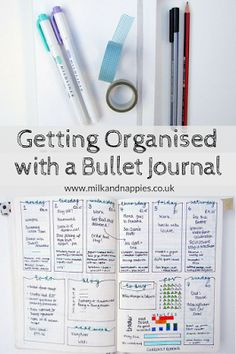 Getting organised with a bullet journal, including weekly and monthly bujo spreads!